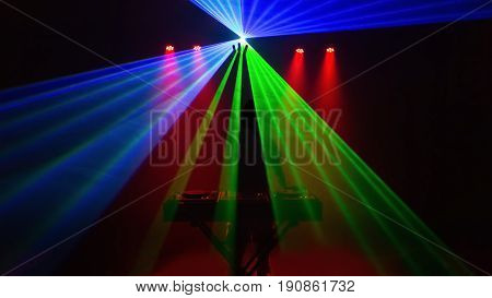 Disc Jockey, Dj, Silhouette With Laser Light