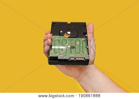 Hdd Hard Disk Drive On Yellow Background