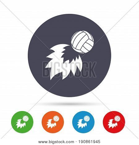 Volleyball fireball sign icon. Beach sport symbol. Round colourful buttons with flat icons. Vector