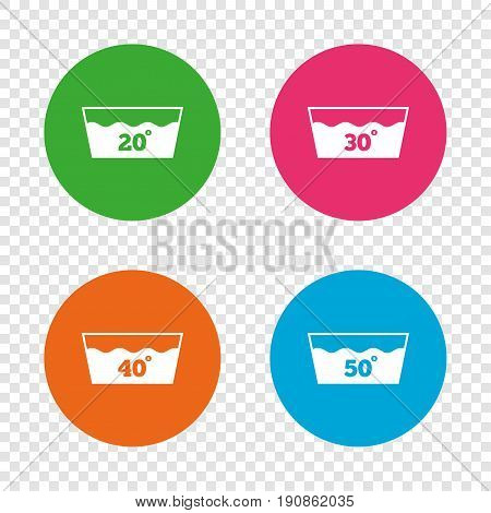 Wash icons. Machine washable at 20, 30, 40 and 50 degrees symbols. Laundry washhouse signs. Round buttons on transparent background. Vector
