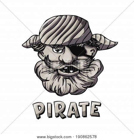 Funny bearded pirate with eye patch. Cartoon character. Monochrome vector illustration based on hand drawn art. Great choice for mascot, pirate party invitation or book illustration.