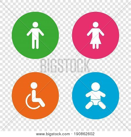 WC toilet icons. Human male or female signs. Baby infant or toddler. Disabled handicapped invalid symbol. Round buttons on transparent background. Vector
