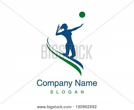 Woman playing volleyball logo on white background