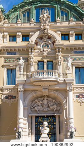 Monaco, Monte Carlo - September 17, 2016: The Grand casino Monte Carlo, gambling and entertainment complex in Cote de Azul and walking people