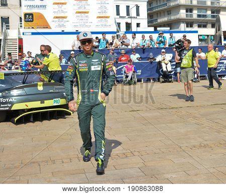 LE MANS, FRANCE - JUNE 11, 2017: Famous Danish racer Nicki Thiim World champion in a uniform of pilot Aston Martin Racing