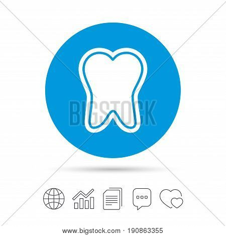 Tooth enamel protection sign icon. Dental toothpaste care symbol. Healthy teeth. Copy files, chat speech bubble and chart web icons. Vector