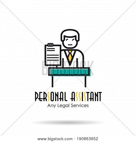 Vector linear logo illustration of personal assistant, man in suit behind a stand with document in hand. Concept of Legal aid and advice