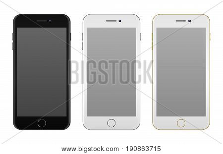 Realistic smartphone icon set - black, solver and golden - isolated on white background. Vector design template, EPS10 illustration mockup.