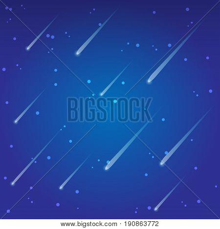 stars fall on sky background. vector illustration