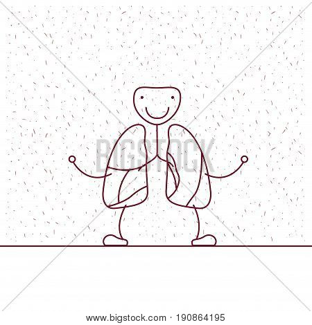 white background with decorative sparks and silhouette caricature respiratory system vector illustration