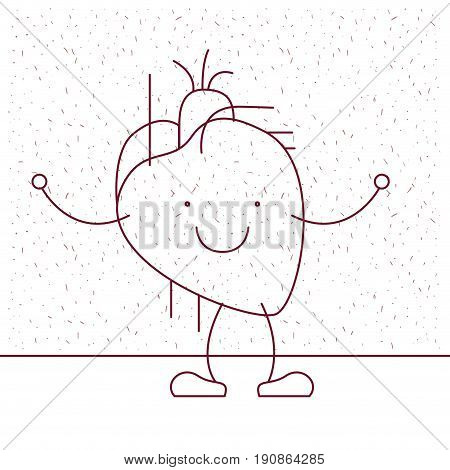 white background with decorative sparks and silhouette caricature hearth system human body vector illustration