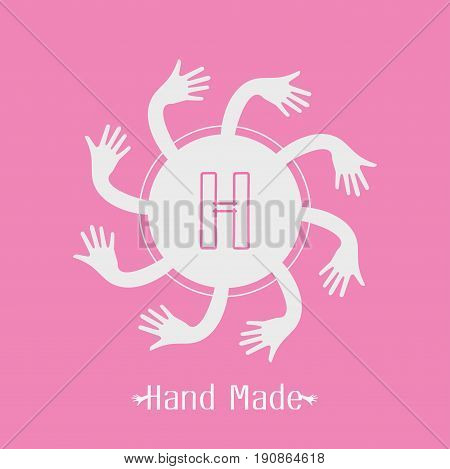 hand made label in line art trendy style - hands icon and text - abstract design elements - logo design template Vector illustration.