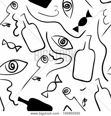 Linear seamless black-white pattern in surrealism style. Vector