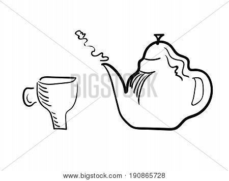 Teacup and brewing teapot on a white background. Vector stylized.