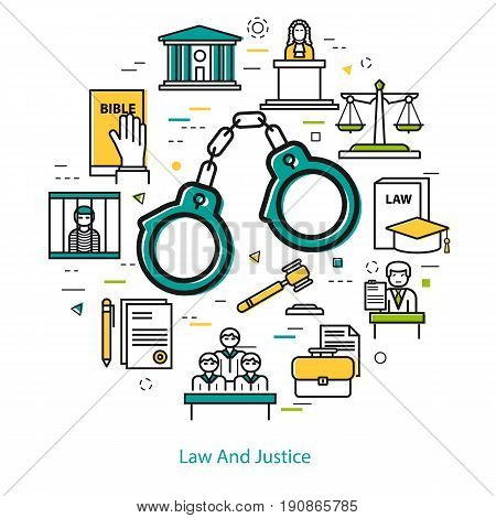 Vector round web banner of judiciary service. Modern thin line icons in three colors. Handcuffs and legal icons of documentation, court, attorney, jury and prison