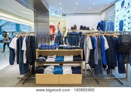 HONG KONG - CIRCA SEPTEMBER, 2016: Calvin Klein store in Hong Kong. Shopping is a widely popular social activity in Hong Kong.