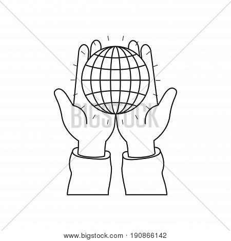silhouette front view of hands holding in palms a globe chart with lines vector illustration