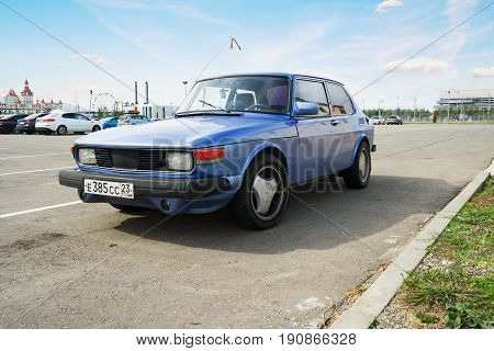 Sochi Russia - October 11 2016: Legendary Saab 900 parked. Compact luxury automobile which was produced by Saab from 1978.