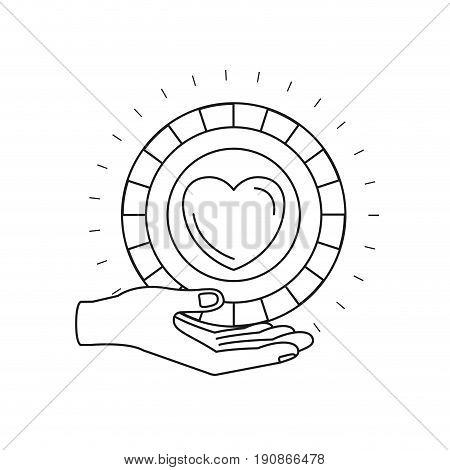 silhouette hand palm giving a coin with heart shape inside charity symbol vector illustration