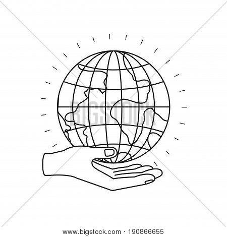 silhouette hand palm giving a earth globe world charity symbol vector illustration