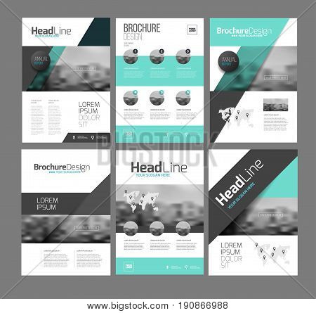 Brochure layot vector set for business. Six trendy brochures templates with photo, text and map.