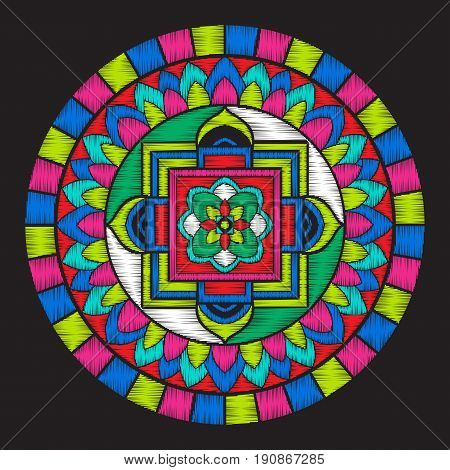 Embroidery with tibet mandala on black background. Stock vector illustration.