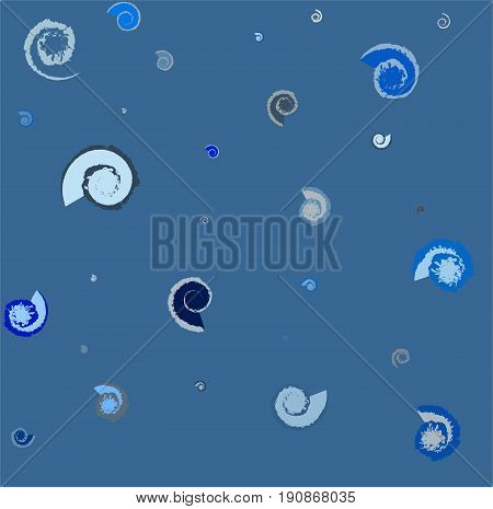 Fossils and shells patterned background (blue tone)