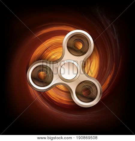 Fidget spinner in spin fire flames isolated on black background. Finger spinner burning in fire. Hand spin toy illustration.