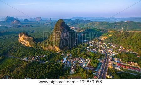 Aerial Photography Phang Nga City In The Morning