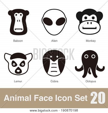 animal face icons set design, vector illustration