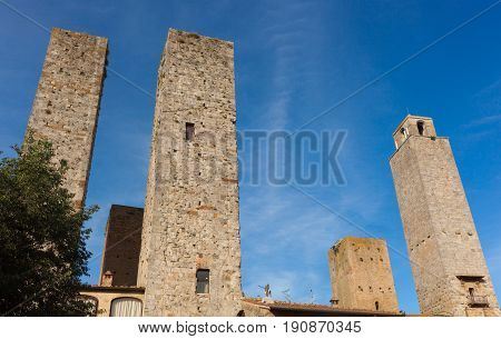 Architecture Of San Gimignano, Small Medieval Village Of Tuscany.