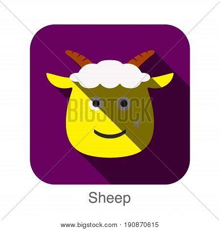 Goat Sheep Face Flat Icon Design. Animal Icons Series.