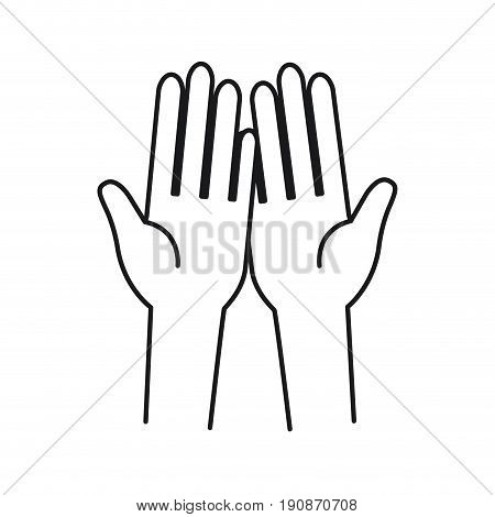 silhouette front view palm of hands in symbol receiving vector illustration