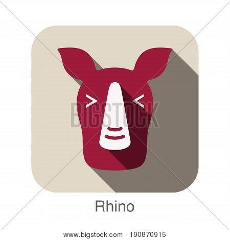 Rhino animal face flat design, vector illustration