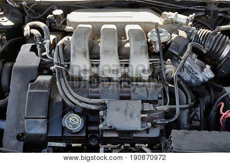 Detail of a V6 engine