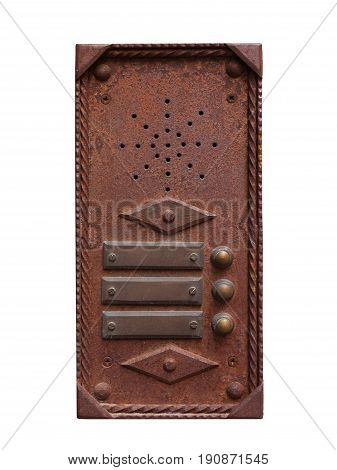 Iron intercom and medieval style. Isolated on white background with customizable labels.