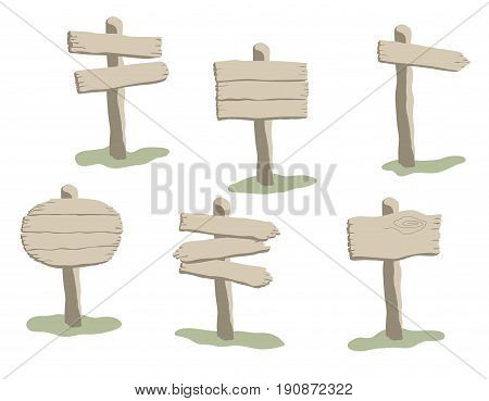 Set of cartoon style vector weathered wooden sign. Round arrow and square shapes blank wooden signpost collection
