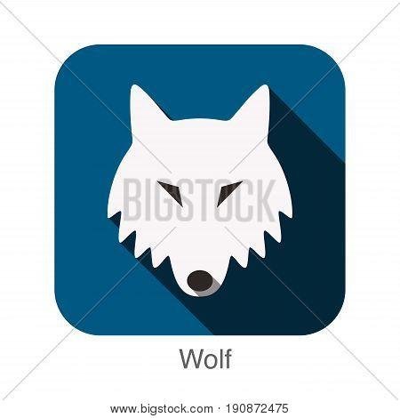 Wolf animal face flat design, vector illustration