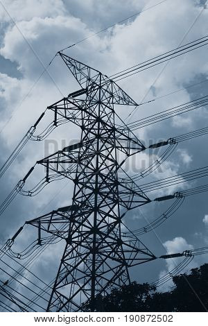 High Voltage Cable Power Post Steel Tower Pylons Mono Color Tone.