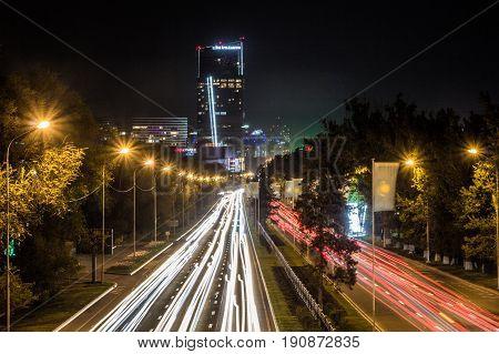 Almaty, Kazakhstan - May 6: Almaty City Night View, Al-farabi Avenue. Light Trails At Night On The R