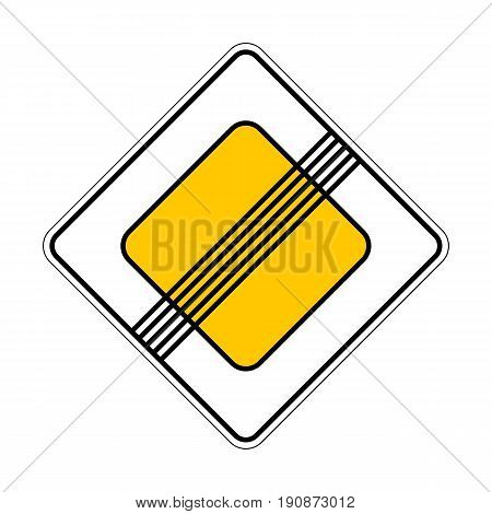Illustration of Traffic Yellow Roadsign End of Main Road