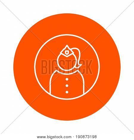 Officer woman in uniform and cap with caption vector round monochrome line icon