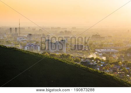 Almaty City In The Fog In Sunset With Smog And Dust In The Air, Kazakhstan