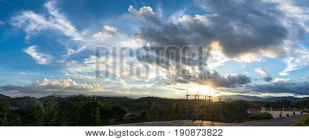 Beautiful sky with white clouds during sunset