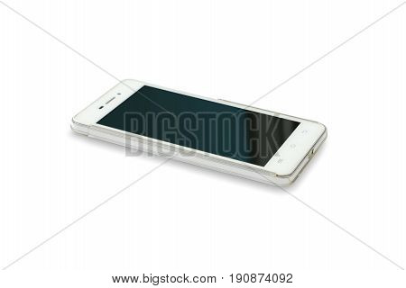 Smartphone on isolated white background.Mobile phone on white background.White modern cell phone on white background
