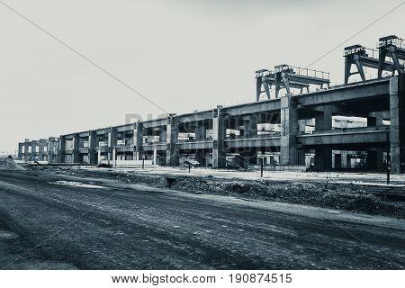 Large Concrete Train Station Building Construction Site.