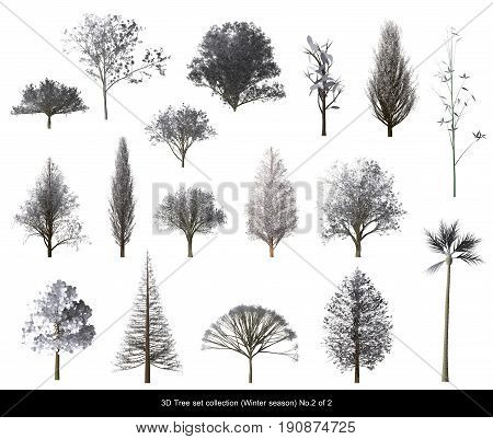 White leaf Snow Tree Winter season set for architecture landscape design 3D Tree isolated on white No.2