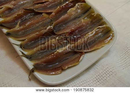 Wizened marinated anchovy fish in ceramic plate on white tablecloth background