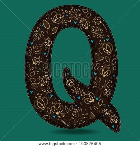 The Letter Q with Golden Floral Decor. Dark brown symbol. Yellow flowers and plants with metallic blazing effect. Blue small hearts. Vector Illustration