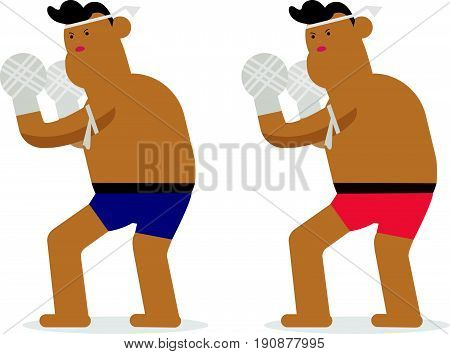 Thai character boxing rope standing vector.flat Thai boxing.